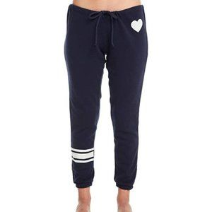 CHASER Heart Stripes Navy & White Joggers Pants